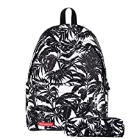 C-Xka Star Sky School Bag With Pencil Case Fashion Leaf Creative Floral Personality Bag Middle School Student Trend College Style Daypack Large Capacity Light Travel Sports Backpack (color : C)