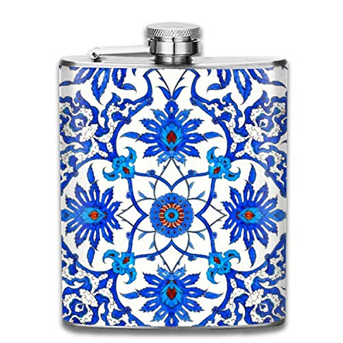 FGRYGF Pocket Container for Drinking Liquor, Art Nouveau Chinese Tile - Cobalt Blue & White 7 Oz Printed Stainless Steel Hip Flask for Drinking Liquor E.g. Whiskey, Rum, Scotch, Vodka Rust Great Gift - 2 Unzen-cobalt-flasche