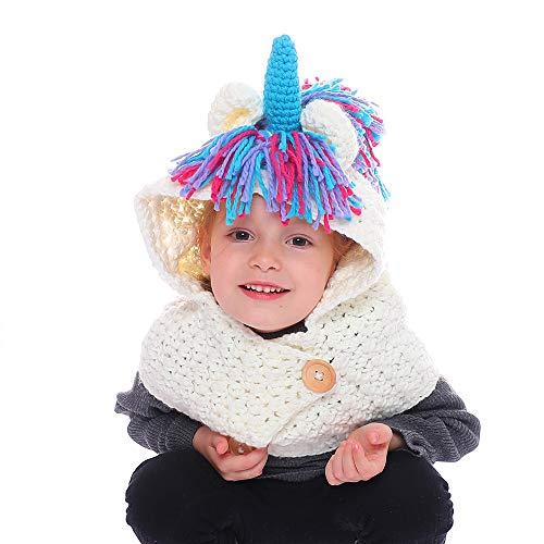 KIYOUMI Gorro con Capucha para niñas Bufanda, Gorros de Ganchillo Unicornio Sombrero de Invierno Gorras con Capa de Borla,A