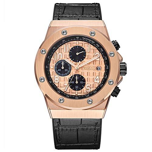 BAOGELA Armbanduhr Herren Uhren Luxus Schwarz Leder Armband Rosegold Zifferblatt Rose Gold Große Gehäuse Militär mit Chronograph Kalender Wasserdicht und Leuchtend XL