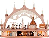3D Schwibbogen + Sockelbergwerk Seiffener Kirche mit Pyramide und bewegten Figuren Bewegung 68 x 50 x 17,5cm Lichterbogen Weißbach