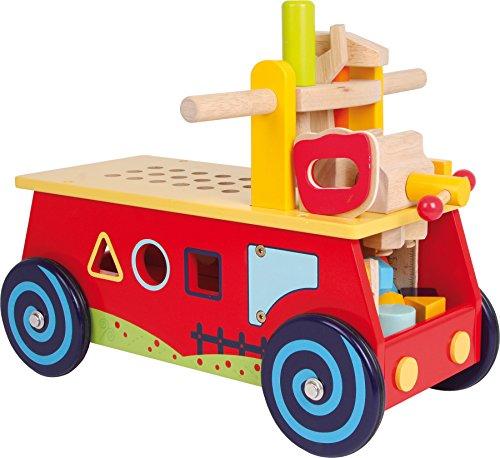 """small foot 1595 Motorikwagen \""""Werkbank\"""" aus Holz, mit allerlei Zubehör, Spielspaß und motorisches Lernen, ab 2 Jahre"""