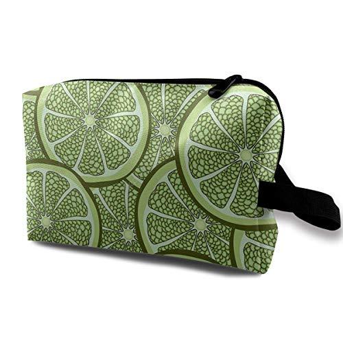 Travel Makeup Cosmetic Bag Brush Pouch Green Lemon Piece Zipper Pen Organizer Carry Case makeup bag