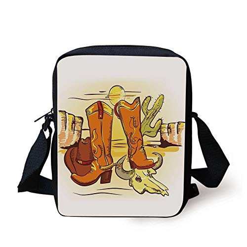 Western,Artistic Composition with Cowboy Accessories Boots Hat Skull in Hot Desert,Orange Yellow Green Print Kids Crossbody Messenger Bag Purse -