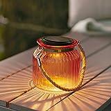 LED Solar Windlicht Solar Glas rotgold Lights4fun