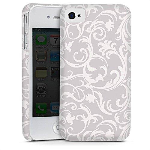 Apple iPhone 4 Housse Étui Silicone Coque Protection Fleurs Fleurs Gris Cas Premium mat