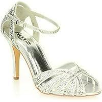 Donne Le Signore Sera Martimonio Festa Tacco Alto Stiletto Diamante Peep Toe Nuziale Sandalo Scarpe Taglie (Oro, Argento, Peltro)