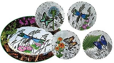4 Stück Trittsteine Gartensteine Trittstein Dekostein Trittplatten Fußsteine Gartensteine Ziersteine Zement von Best-Accessoires4All - Du und dein Garten