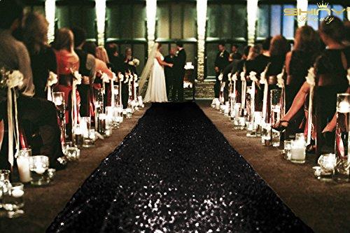 Pailletten Gang Läufer, 3ftx15ft Sparkle Gang Runner, Glitzer Gang für Hochzeit, Polyester-Mischgewebe, schwarz, 3FTX15FT