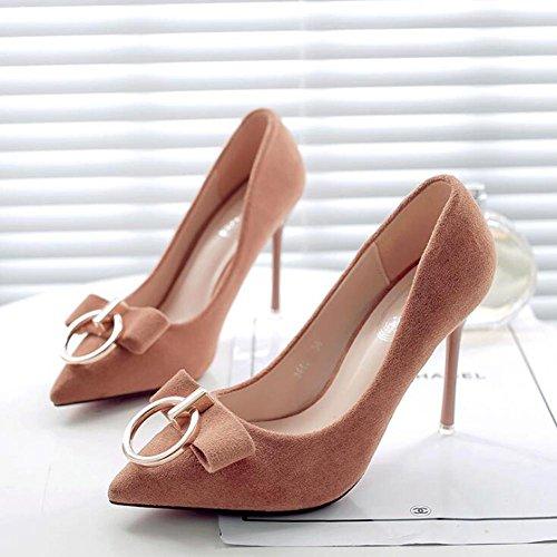 MéTal Femme Boucle Et De avec YC De De En La Pointue Chaussures Fine Talons à Bouche à Hauts Boucle Bureau L brown Chaussures Danse fSy7FpaS