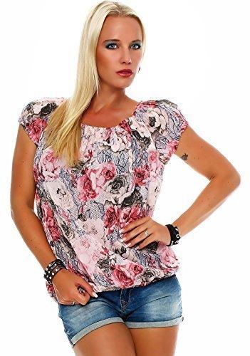 ZARMEXX Chemisier Femme Blouse Chemise Motif Floral Carmen Chemisier Chemise Manches Courtes Viscose * Fleur * Rose