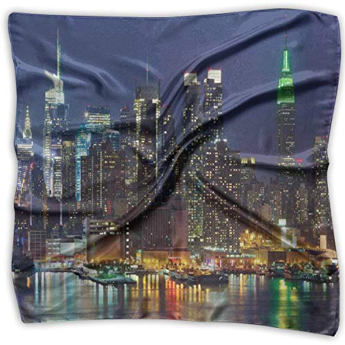AIQIIA Unisex Bandana Head and Neck Tie Neckerchief Headdress Silk-Like,NYC Midtown Skyline In Evening Skyscrapers Amazing Metropolis City States Photo,Square Scarves Bandana Scarf