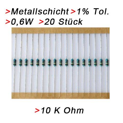 Widerstand 10 K Ohm, 20 Stück, Metallschicht 0.6W 1% Metallfilm Widerstände