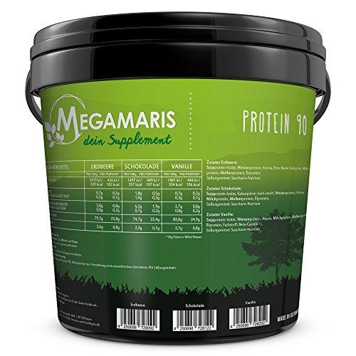 Megamaris Protein 90 5K 5 kg Eimer Mehrkomponenten Eiweiß Sojaprotein Weizenprotein Milchprotein Molkenprotein Eiprotein (Schokolade) - 5 Eiweiß