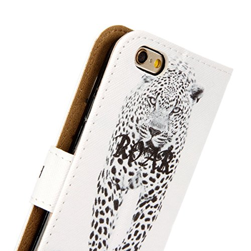Hülle für iPhone 6S Plus, Tasche für iPhone 6 Plus, Case Cover für iPhone 6 Plus, ISAKEN Malerei Muster Folio PU Leder Flip Cover Brieftasche Geldbörse Wallet Case Ledertasche Handyhülle Tasche Case S Leopard Weiß