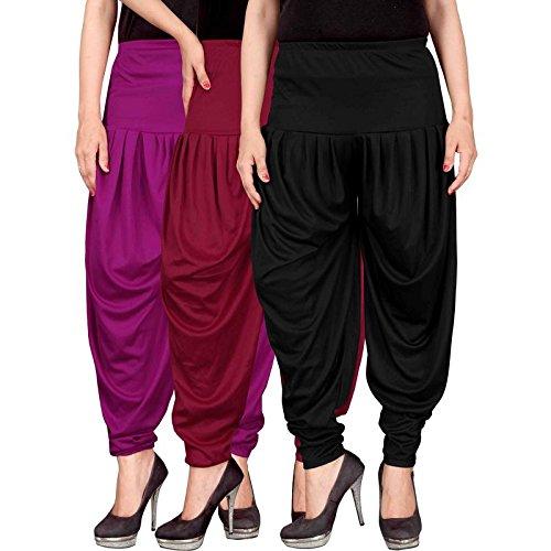 Culture the Dignity Women's Lycra Dhoti Patiala Salwar Harem Pants CTD_00P1MB_1-PURPLE-MAROON-BLACK-FREESIZE -...