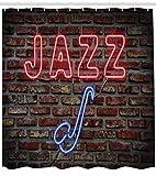 Abakuhaus Duschvorhang, Jazz Beschriftung in Neon Lichtern Blauen Saxofone Darunter Steinmauer Nachtleben Club Druck, Wasser und Blickdicht aus Stoff mit 12 Ringen Bakterie Resistent, 175 X 200 cm
