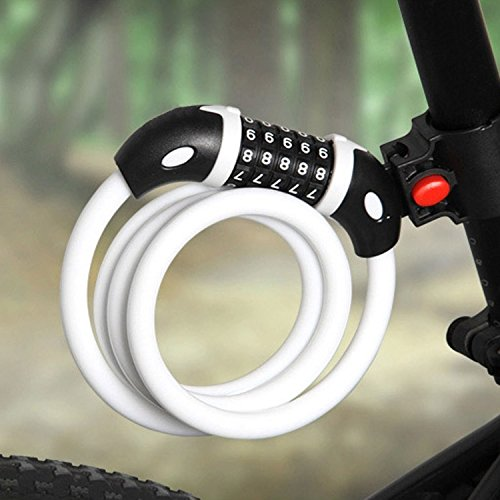 GoFriend Bike Lock High Security 5 Digit Resettable Combination Coiling Cable Lock Best for Bicycle Outdoors, 1.2mx12mm WHITE