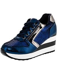 Cingant Woman Damen Freizeitschuhe/Wedge Sneakers/Damenschuhe/Versteckter Keilabsatz/Freizeitschuhe/Schwarz, EU 36
