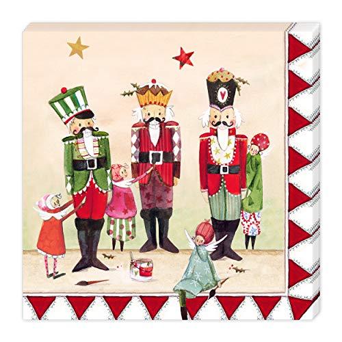 Grätz Verlag 20 Stück Servietten, 33 x 33 cm, 3-lagig, Retro, Tradition, Weihnachten, Nüsse, rot,...