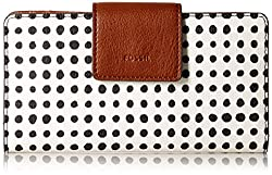 EMMA RFID TAB CLUTCH WHITE WITH BLACK Wallet, BLACK AND WHTE GRID DOT, One Size