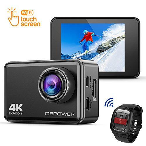 "DBPOWER EX7000 Action Kamera 4K Sports Cam Panasonic Sensor 14MP 2"" Touchscreen Unterwasserkamera Helmkamera wasserdicht 170 Ultra-Weitwinkel mit 2 Batterien und Zubehör Kits"