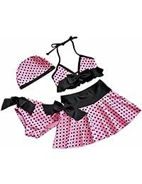 FEESHOW4 piezas Las Niñas Bikini Traje de baño de lunares Rosa para Playa Natación de verano SZ 2-10años