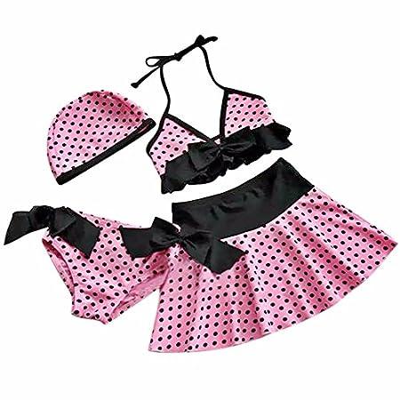 Freebily Mini Jupe 4 pièces Maillot de Bain Petite Filles Bikini Bretelle Culotte avec Bonnet A Pois Bikinis 3-10 Ans