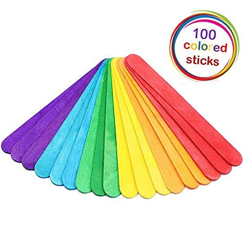 alledomain 15cm/15,2cm Farbige Jumbo Sticks Holz Craft Sticks Lollipop Craft Sticks–100Stück