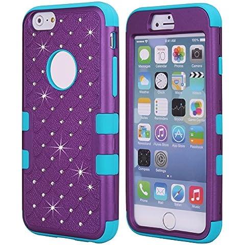Cuitan 3 in 1 Funda Case para Apple iPhone 6 plus / 6s plus (5.5 Inch), Suave Silicona Inner Caso y PC Difícil Frente Back Cover con Bling Diamante Brillante Rhinestones Completa Protector Case Cover Carcasa Funda Caso para iPhone 6 plus / 6s plus (5.5 Inch) - Púrpura + Azul (Teléfono no