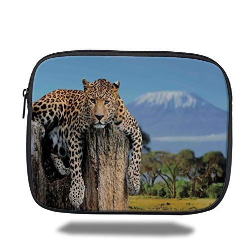 Tablet Bag for Ipad air 2/3/4/mini 9.7 inch,Wildlife Decor,Leopard Sitting on Tree Trunk with Mountain Range Journey Up Kilimanjaro Scene,Tan Blue,3D Print