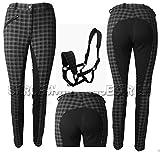 "Ladies Check Jodhpurs 3 Colours All Sizes Best Quality & Fitting Jodhpurs (Black Check, 26"" UK 8)"