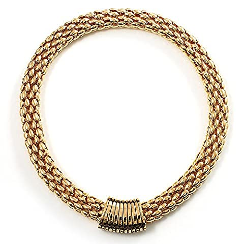 Gold Tone Wide Mesh Magnetic Fashion Choker