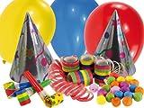 Riethmüller 550017 - Partyset, 16-teilig, Hüte, Ballons, Luftrüssel, Luftschlangen und Wattebälle