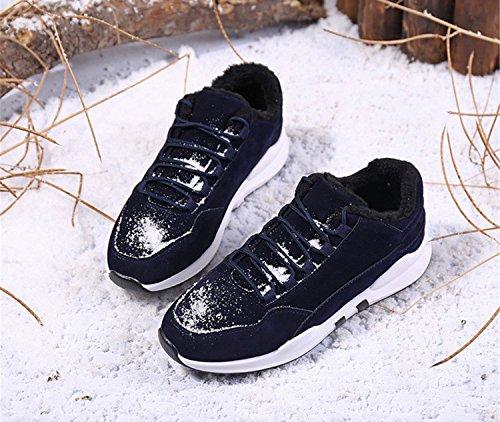 Herren Warm Gefütterte Sportschuhe Sneakers Turnschuhe Wandersche Trekkingschuhe Blau mit Fleece