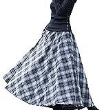 C☯H Damen Wollrock Winterrock Herbstrock lang verdicht A-Linie (L2(Länge 90cm/Taille 67-91cm), Grau-Weiß)