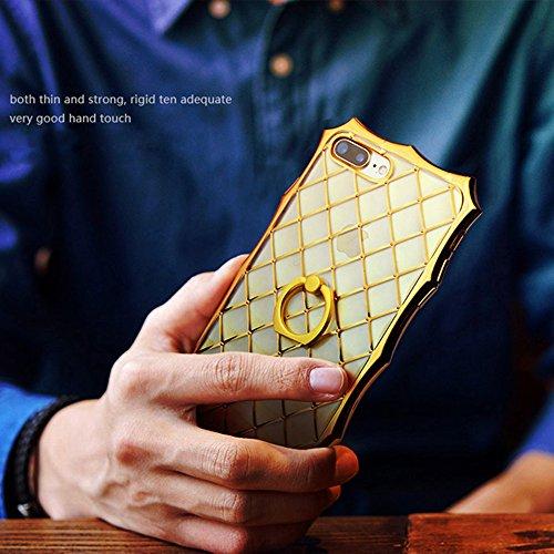 iPhone 7 Plus/iPhone 8 Plus Ring Stand Coque, SHANGRUN Rhombe TPU Gel Silicone 360 Degrés Rotation Intégrée Bague de Serrage Support Case Coque avec Béquille Housse Étui pour iPhone 7 Plus/iPhone 8 Pl Rose Or