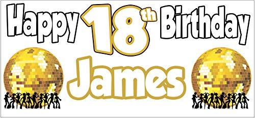 AK Giftshop Personalisierbares Geburtstagsbanner für Erwachsene, Disco-Muster, Party-Dekorationen, Herren, Damen, Teenager, Sohn, Tochter, Enkel, Enkelin, Mutter, Oma, Freund, 2 Stück