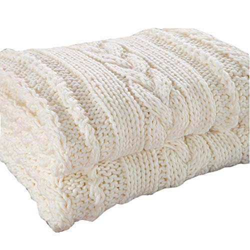 Handgemachte Klobige Gestrickte Decke Dicke Wolle Sperrige Gestrickte Decke Warme Winter Schlafsofa Wohnkultur Wirft Decken (180 * 200 cm Blau/Elfenbein Weiß,A -