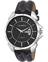 Laurels Black Color Day & Date Analog Men's Watch With Strap: LWM-INC-VIII-020207