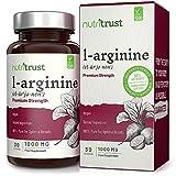 Cápsulas de Aminoácido de L-Arginina de forma libre 1000 mg por Nutritrust- Admite la función muscular normal - Fórmula vegana para mejorar el rendimiento y la aptitud