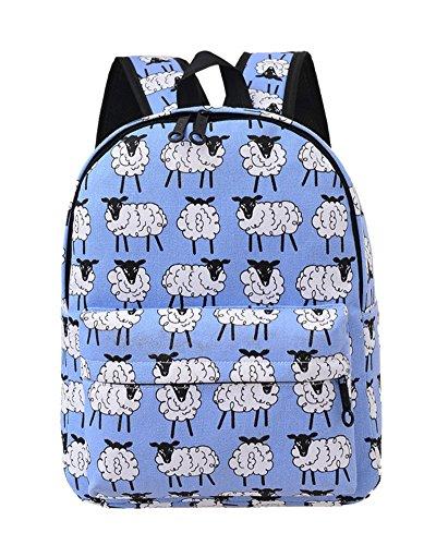 SaiDeng Femme Preppy Style Sac À Dos Canevas Cartable Imprimé Décontracté Sacs Sheep Azur