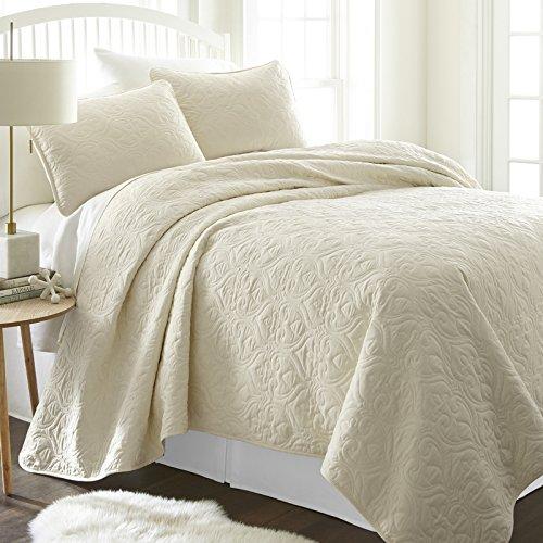 Simply Soft SS-Qlt-DA-K-GR Bettwäsche-Set für King-Size-Bett/California King Size, Grau Modern Twin Damask Ivory -