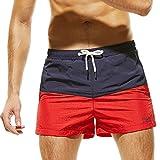 GreatestPAK Atmungsaktive Shorts Herren Schlanke Kleidung Farbnähende Hosen Trunks Bademode Strand,Marine,M
