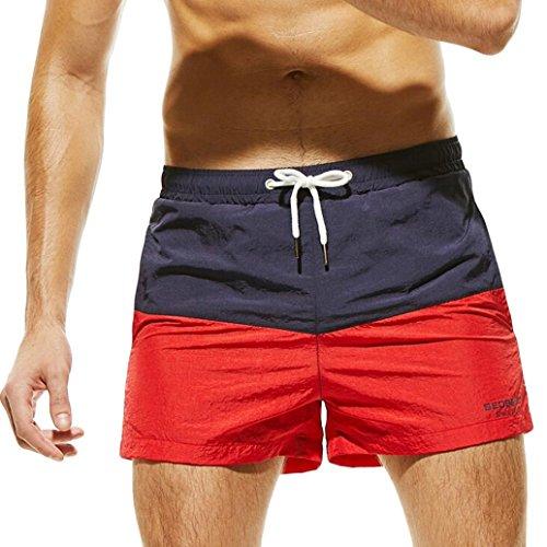 Rusty Herren Bademode (GreatestPAK Atmungsaktive Shorts Herren Schlanke Kleidung Farbnähende Hosen Trunks Bademode Strand,Marine,M)