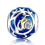 KAAYAH Goldener Delfin, Blauer Bead aus 925 Sterling Silber mit weißen Zirkonia - Damen Anhänger für Ihr Charm Armband