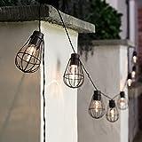 Design Metall Lichterkette, kupferfarben, solarbetrieben mit warmweißen LEDs, 2,8m, von Festive Lights