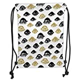 Drawstring Backpacks Bags,Trippy,Sexy Woman Eyes with Eyelash Unusual Style Fashion Icon Modern Design Print Decorative,Gold and Black Soft Satin,5 Liter Capacity,Adjustable String