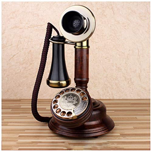 SMC Retro Oak Wireless Festnetz-Vintage-Plattenspieler Mechanisch Elektronischer Klingelton Dial Festnetz-Old Man European Single-Receiver-geprägtes Telefon