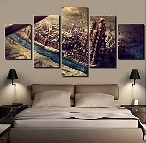 5PCS Framed Game of Thrones Canvas Prints - 5 Piece Famous Show Game Of Thrones Artwork Canvas Painting on Wall Art for Office and Home Wall Decor (30x40cmx2,30x60cmx2,30x80cmx1)